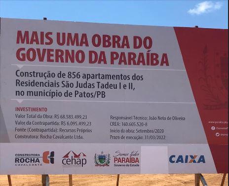 Governo inicia construção do Residencial São Judas Tadeu I e II, em Patos